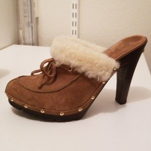 Michael Kors Suede Clogs with Sheepskin